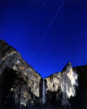 International Space Station over Moonlit Bridalveil Fall