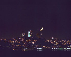 Coit Tower and Crescent Moon