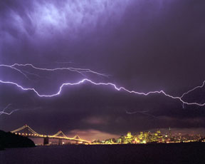 Spider Lightning and the Bay Bridge