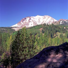 Lassen Peak and 10-Foot Volcanic Boulder